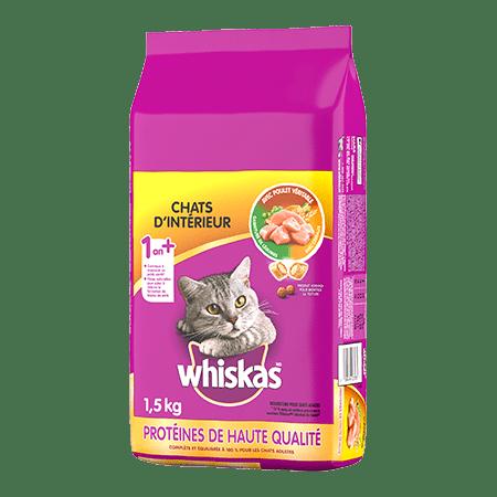 Nourriture sèche pour chats WHISKAS<sup>MD</sup> Chats d'intérieur avec poulet véritable