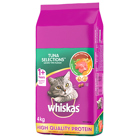WHISKAS<sup>®</sup> Dry Cat Food Tuna Selections<sup>TM </sup>, Natural Tuna Flavour