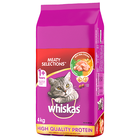 WHISKAS<sup>®</sup> Dry Cat Food Meaty Selections<sup>TM </sup> With Real Chicken