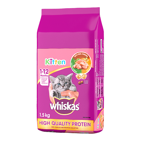WHISKAS<sup>®</sup> Dry Kitten Food With Real Chicken