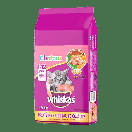Nourriture sèche pour chats WHISKAS<sup>MD</sup>  Chatons avec poulet véritable
