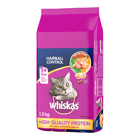 WHISKAS<sup>®</sup> Dry Cat Food Hairball Control With Real Chicken