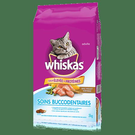 Nourriture sèche pour chats WHISKAS<sup>MD</sup> Soins buccodentaires avec poulet véritable, 3 kg