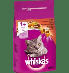 WHISKAS®ADULT 1+ Πλήρης και Ισορροπημένη Ξηρή Τροφή για Γάτα με Μοσχάρι 300g