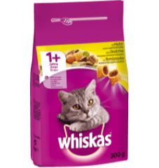 WHISKAS® ADULT 1+ Πλήρης Ξηρή Τροφή για Γάτα με Κοτόπουλο 300g