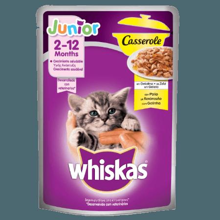 WHISKAS® JUNIOR 2-12 Μηνών Γατάκι Casserole Φακελάκι Κοτόπουλο σε Ζελέ 85g