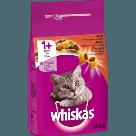 WHISKAS® ADULT 1+  Πλήρης και Ισορροπημένη Ξηρή Τροφή για Γάτα με Μοσχάρι 350g