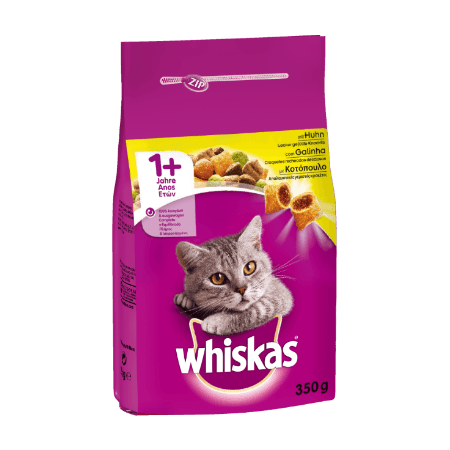 WHISKAS® ADULT 1+  Πλήρης Ξηρή Τροφή για Γάτα με Κοτόπουλο 350g
