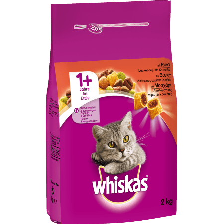 WHISKAS® ADULT 1+  Πλήρης Ξηρή Τροφή για Ενήλικη Γάτα με Μοσχάρι 2kg