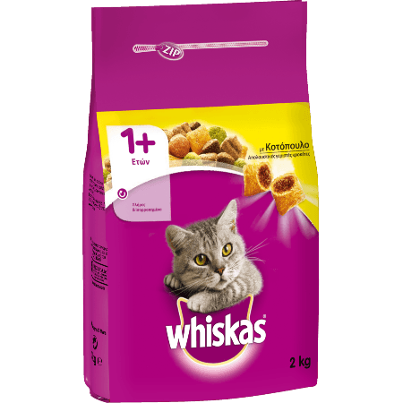 WHISKAS® ADULT 1+  Πλήρης και Ισορροπημένη Ξηρή  Τροφή για Γάτα με Κοτόπουλο 2kg