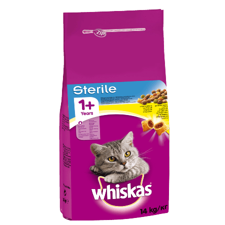 WHISKAS® ADULT 1+ Πλήρης και Ισορροπημένη Ξηρή Τροφή για Στειρωμένη Γάτα με Κοτόπουλο 14kg