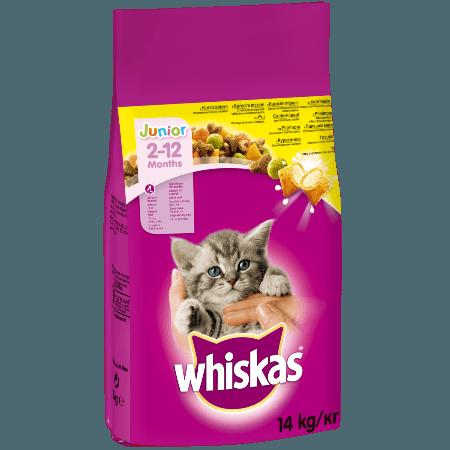 WHISKAS® JUNIOR 2-12 Μηνών Πλήρης Ξηρή Τροφή με Κοτόπουλο και Γεμιστές Κροκέτες με Γάλα 14kg