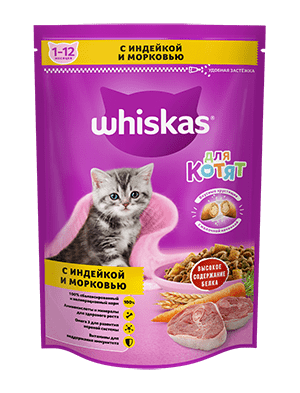 Сухой корм WHISKAS ®  для котят «Подушечки с молочной начинкой, с индейкой и морковью», 350г