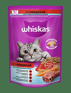 Сухой корм WHISKAS ®  для стерилизованных кошек, с говядиной и вкусными подушечками, 350г