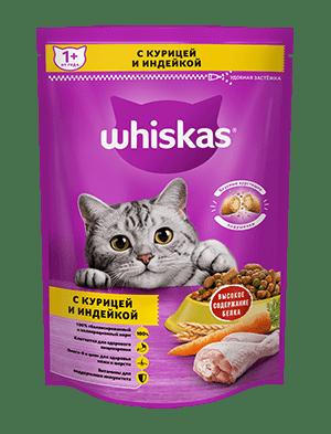 Сухой корм WHISKAS ®  для кошек «Подушечки с паштетом. Ассорти с курицей и индейкой», 350г