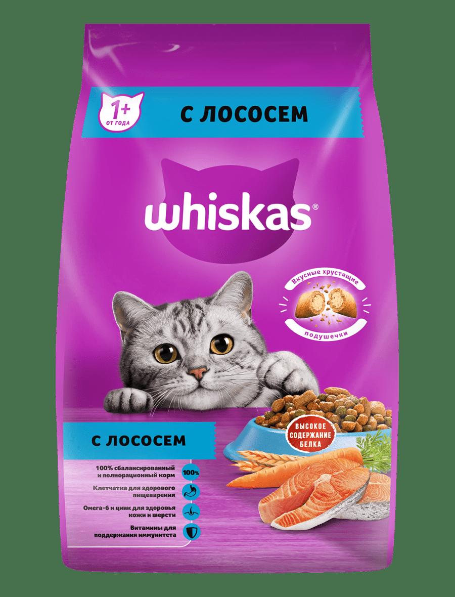 Сухой корм WHISKAS ®  для кошек «Подушечки с паштетом. Аппетитный обед с лососем», 1.9кг