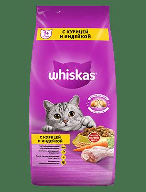 Сухой корм WHISKAS ®  для кошек «Подушечки с паштетом. Ассорти с курицей и индейкой», 5кг