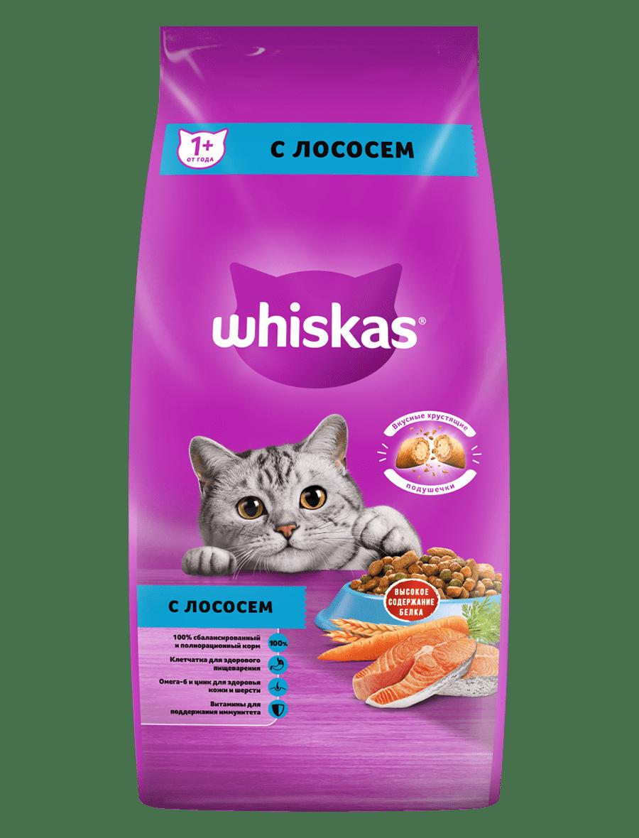 Сухой корм WHISKAS ®  для взрослых кошек «Подушечки с нежным паштетом. Обед с лососем», 5кг
