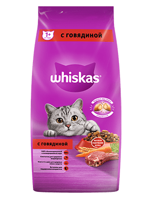 Сухой корм WHISKAS ®  для кошек «Вкусные подушечки с нежным паштетом, с говядиной», 5кг
