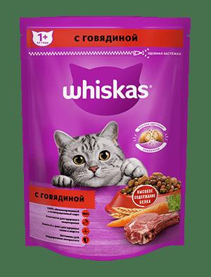 Сухой корм WHISKAS ®  для кошек «Вкусные подушечки с нежным паштетом, с говядиной», 225г