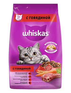Сухой корм WHISKAS ®  для кошек «Вкусные подушечки с нежным паштетом, с говядиной», 1.9кг