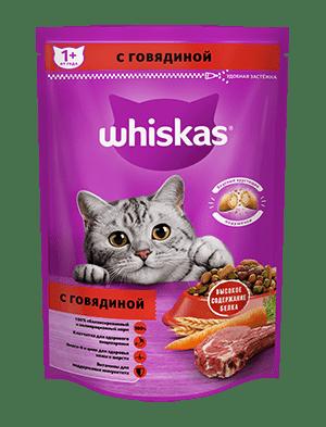 Сухой корм WHISKAS ®  для кошек «Вкусные подушечки с нежным паштетом, с говядиной», 350г
