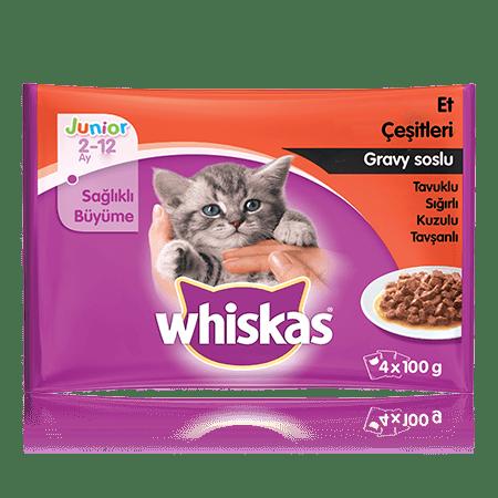 WHISKAS® Gravy Sos İçinde Tavuklu, Sığırlı, Kuzu Etli, Tavşanlı Yavru Kedi Maması