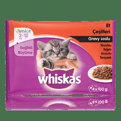 WHISKAS® Gravy Sos İçinde Tavuklu, Sığır Etli, Kuzu Etli, Tavşanlı Yavru Kedi Maması