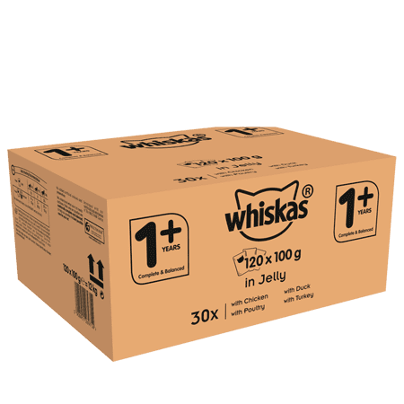 Whiskas 1+ Wet Cat Food for Adult Cats Poultry Selection in Jelly, 120 Pouches 120 x 100g