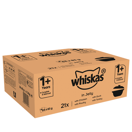 Whiskas Casserole 1+ Wet Cat Food for Adult Cats Poultry Selection in Jelly, 84 Pouches 84 x 85g