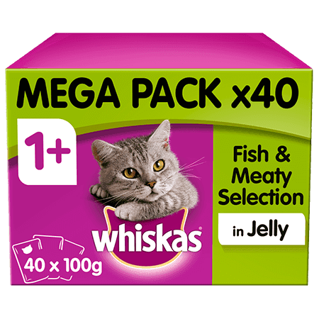 Whiskas Fish & Meaty Selection in Jelly Wet Senior 7+ Cat Food Pouches 40x100g