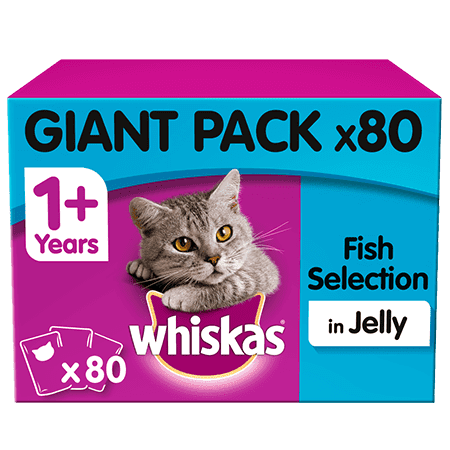 Whiskas Fish in Jelly Adult 1+ Wet Cat Food Pouches 80 x 100g Giant Pack