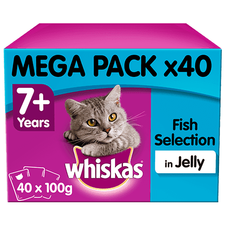 Whiskas Fish Selection in Jelly Senior 7+ Wet Cat Food Pouches 40 x 100g