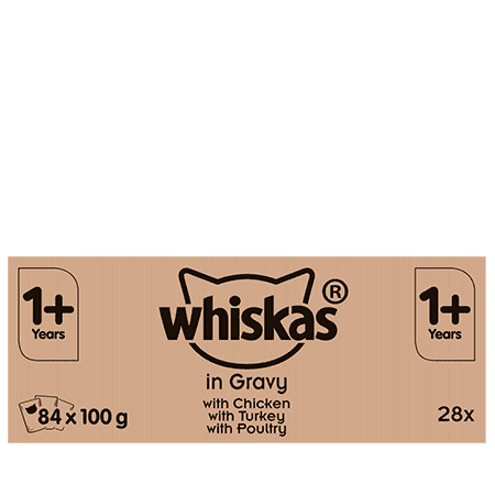 Whiskas Meat in Gravy Wet Adult 1+ Cat Food Pouches 84x100g