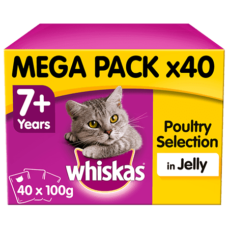 Whiskas Poultry in Jelly Wet Senior 7+ Cat Food Pouches 40 x 100g