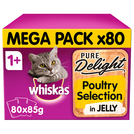 Whiskas Pure Delight Poultry Collection in Jelly Adult 1+ Wet Cat Food Pouches 80 x 85g