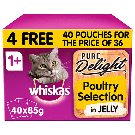 Whiskas Pure Delight Poultry Collection in Jelly Adult 1+ Wet Cat Food Pouches 40 x 85g