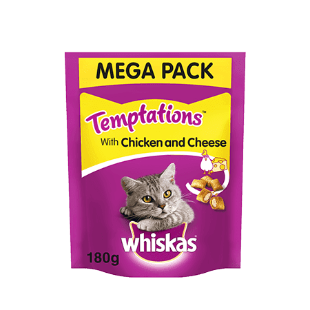 Whiskas Temptations Adult 1+ Chicken & Cheese Cat Treats 180g