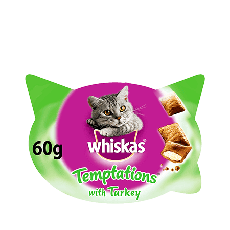 WHISKAS Temptations Cat Treats with Turkey 60g