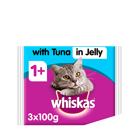 Whiskas Tuna in Jelly Wet Adult 1+ Cat Food Pouches 3 x 100g
